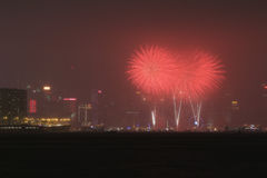 Beautiful firework on Victoria Harbor, Hong Kong Stock Image