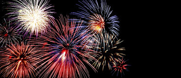 Beautiful Fireworks. Colorful fireworks, copyspace on the right.  Insert your own text Stock Images