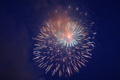Beautiful fireworks. In the evening sky Stock Image