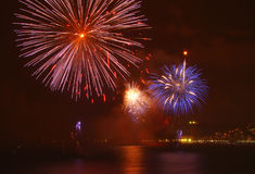 Beautiful fireworks. Celebrating new year on the beach royalty free stock images