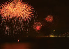 Beautiful fireworks. Celebrating new year on the beach royalty free stock photography