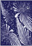 Beautiful fireworks. On blue sky with star Stock Image