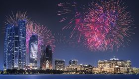Beautiful fireworks above Abu Dhabi Skyline at night, UAE. Beautiful fireworks above Abu Dhabi Skyline at night, United Arab Emirates stock photos