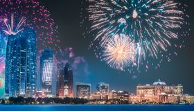 Beautiful fireworks above Abu Dhabi Skyline at night, UAE. Beautiful fireworks above Abu Dhabi Skyline at night, United Arab Emirates royalty free stock photography