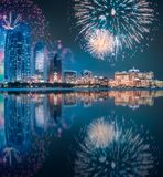 Beautiful fireworks above Abu Dhabi Skyline at night, UAE. Beautiful fireworks above Abu Dhabi Skyline at night, United Arab Emirates stock image