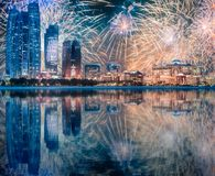 Beautiful fireworks above Abu Dhabi Skyline at night, UAE. Beautiful fireworks above Abu Dhabi Skyline at night, United Arab Emirates stock photography