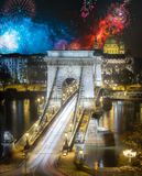 Beautiful fireworks above Chain Bridge at night, Budapest, Hungary. Beautiful fireworks above Chain Bridge at night Budapest, Hungary stock photos