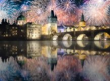 Beautiful fireworks above Charles bridgeat at night, Prague, Czech Republic. Beautiful fireworks above Charles bridge at night in Prague, Czech Republic stock photo