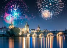 Beautiful fireworks above Charles bridgeat at night, Prague, Czech Republic. Beautiful fireworks above Charles bridge at night in Prague, Czech Republic stock image