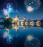 Beautiful fireworks above Charles bridgeat at night, Prague, Czech Republic royalty free stock photo