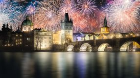 Beautiful fireworks above Charles bridgeat at night, Prague, Czech Republic royalty free stock photos