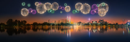 Beautiful fireworks above cityscape of Kuala Lumpur skyline Royalty Free Stock Image