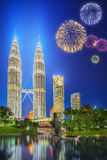 Beautiful fireworks above cityscape of Kuala Lumpur skyline Stock Photos