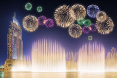 Beautiful fireworks above dancing fountain Burj Khalifa in Dubai, UAE Royalty Free Stock Photography