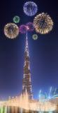 Beautiful fireworks above dancing fountain Burj Khalifa in Dubai, UAE royalty free stock photos