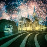 Beautiful fireworks above Fishermen`s bastion in Budapest, Hungary. Beautiful fireworks above Fishermen`s bastion at night in Budapest, Hungary royalty free stock photo