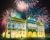 Beautiful fireworks above Hungarian Parliament in Budapest. Beautiful fireworks above Hungarian Parliament on Danube river at night, Budapest stock photos