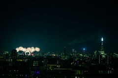 Beautiful fireworks above London. New Years Eve, view from Greenwich Point Hill Royalty Free Stock Photos