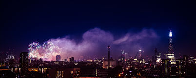 Beautiful fireworks above London. New Years Eve, view from Greenwich Point Hill Royalty Free Stock Image