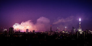 Beautiful fireworks above London. New Years Eve, view from Greenwich Point Hill Royalty Free Stock Photography