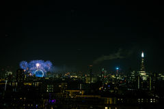 Beautiful fireworks above London. New Years Eve, view from Greenwich Point Hill Royalty Free Stock Images