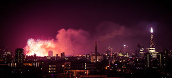 Beautiful fireworks above London. New Years Eve, view from Greenwich Point Hill Royalty Free Stock Photo