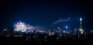 Beautiful fireworks above London. New Years Eve, view from Greenwich Point Hill Stock Photo