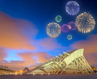 Beautiful fireworks above modern european architecture, Valencia Stock Photography