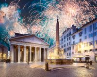 Beautiful fireworks above Pantheon and Rotonda square. Rome, Italy. Beautiful fireworks above Pantheon, Rotonda square and Fountain at night. Rome, Italy stock images