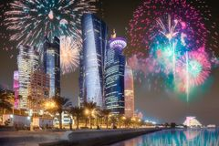 Beautiful fireworks above park in Doha City Center. At night, Qatar royalty free stock images