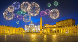 Beautiful fireworks above Saint Peter's Square, Vatican, Rome Stock Images