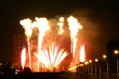 Celebration of New Year 2018 1. Beautiful fireworks abovew the town in first moments of new year 2018 Stock Photo