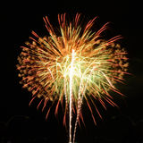 Beautiful fireworks in celebrate day isolate on black background Stock Images