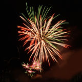 Beautiful fireworks in celebrate day isolate on black background Stock Image