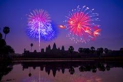 Beautiful fireworks celebration in Angkor Wat, Siem Reap. Camb Royalty Free Stock Photos