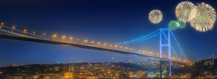 Beautiful fireworks and cityscape of Istanbul stock photography