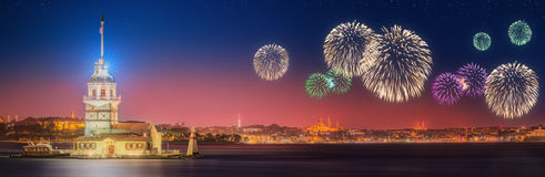 Beautiful fireworks and cityscape of Istanbul Stock Photos
