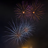 Beautiful fireworks. Beautiful colorful fireworks on a black sky stock images