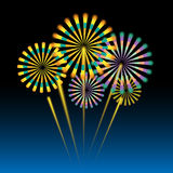 Beautiful fireworks on dark blue. Background Royalty Free Stock Images