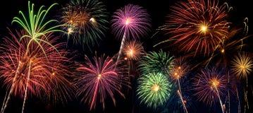 Beautiful fireworks display lights up the night time sky. Beautiful fireworks fill the night time sky Stock Photos