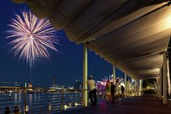 Beautiful fireworks display during National day parade in Marina Bay in Singapore royalty free stock photos