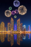 Beautiful fireworks in Dubai marina. UAE Stock Photography