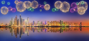 Beautiful fireworks in Dubai marina. UAE Royalty Free Stock Image