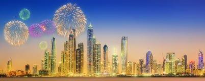 Beautiful fireworks in Dubai marina. UAE Stock Image
