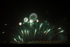 Beautiful Fireworks at F1 Circuit Bahrain Stock Photo
