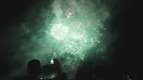 Beautiful Fireworks Festival people watching Fireworks stock footage