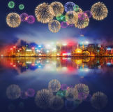 Beautiful fireworks in Hong Kong and Financial district Stock Image