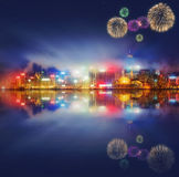 Beautiful fireworks in Hong Kong and Financial district Royalty Free Stock Photos