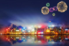 Beautiful fireworks in Hong Kong and Financial district Royalty Free Stock Images