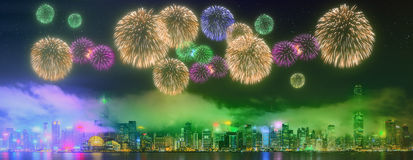 Beautiful fireworks in Hong Kong. Island, skyline and Financial district, China Stock Images